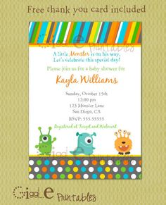 Printable Little Monster Baby Shower Invitation Thank You Card