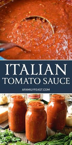 An authentic and delicious Italian Tomato Sauce that has been passed down through generations. So good, it's sure to become your family's go-to sauce recipe! # pasta sauce recipes The Best Italian Tomato Sauce - A Family Feast® Best Italian Recipes, Favorite Recipes, Authentic Italian Recipes, Authentic Italian Tomato Sauce Recipe, Italian Tomatoes Recipe, Sicilian Recipes, Sicilian Food, Pasta Sauce Recipes, Recipes With Mint Sauce