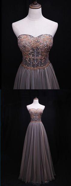 Spring sweetheart neck beaded belt long evening dress, long beaded prom dress #prom #dress #promdress