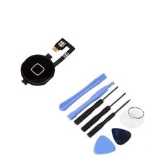 New Black Home Button Key + Home Menu Flex Cable + 8 in 1 Tool Kit for iPhone 4 #UnbrandedGeneric