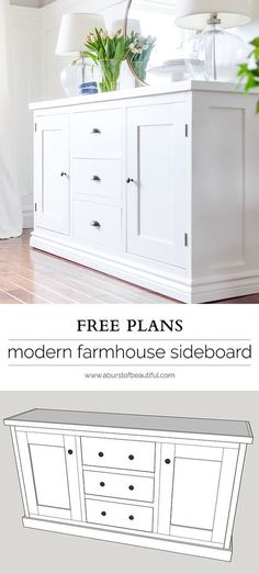 Modern Shaker Sideboard Plans Building a modern farmhouse sideboard buffet is easy with these free plans.Building a modern farmhouse sideboard buffet is easy with these free plans. Diy Furniture Plans, Woodworking Furniture, Pallet Furniture, Furniture Projects, Furniture Decor, Furniture Design, Wood Projects, Woodworking Projects, Modern Furniture