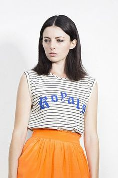 ROYAL TANK STRIPE by Salasai | The Grand Social Cheer Skirts, Graphic Tees, Logo, Womens Fashion, T Shirt, Shopping, Supreme T Shirt, Logos, Tee