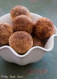 Moist and fluffy donuts that are baked in a muffin pan, instead of fried, and topped with a cinnamon-sugar mixture.