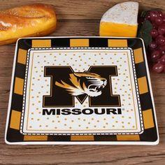 Missouri Tigers Game Day Square Ceramic Plate