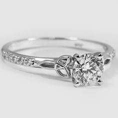 White Gold Luxe Celtic Love Knot Ring Set With A Carat Round Very Good Cut I Color Clarity Diamond