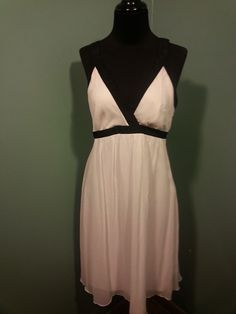 The Limited White Black Trimmed Silk Chiffon Sleeveless Evening Party Dress 4 #TheLimited #EveningPartyDress #Cocktail