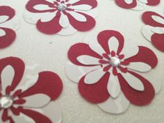 Red/White Handcrafted Paper Flowers for by PaperCraftingByMandy, $3.98