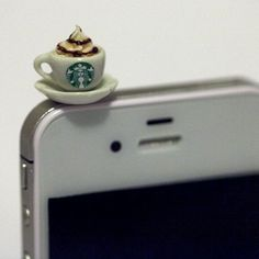 Haha, kinda cute I can't lie!   Kawaii STARBUCKS CAPPUCCINO Iphone Earphone by fingerfooddelight
