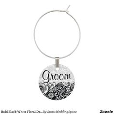 SOLD! Bold Black White Floral Design #Wine Charm @sjasis