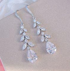 Bridal Earrings Long Wedding Earrings Crystal Bride Earrings Wedding Jewelry CZ Dangle Earrings SO PRETTY