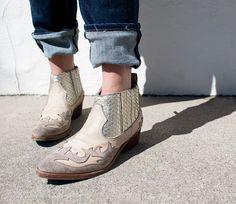 Golden Goose | dirty white platinum snake western-inspired bootie
