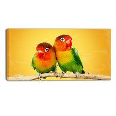 Gold Love Birds Canvas Wall Art Print
