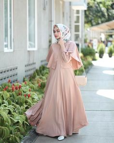 """Likes, 17 Comments - Shella Alaztha ( on """"wearing wide dress from and rawis square hijab from ❤️"""" Hijab Gown, Hijab Dress Party, Hijab Style Dress, Dress Outfits, Dress Up, Pink Dress, Dress Brokat Muslim, Dress Pesta, Muslim Dress"""