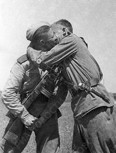 May 1945 . Soldiers of the 3rd Ukrainian Front congratulate each other after the war .