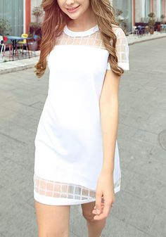 Short Sleeve Mesh Straight Dress