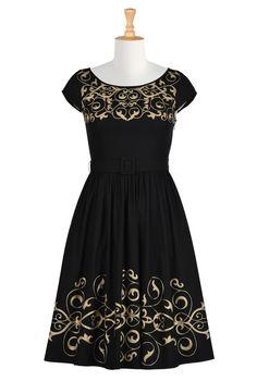 Graphic Floral Vine Embellished Poplin Dresses, Cotton Poplin Dresses Women's designer dresses - Day dresses, casual dresses, maxi dresses, caftans - | eShakti