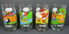 Set of 4 McDonald's Camp Snoopy Glasses Vintage Peanuts Lucy Charlie Brown