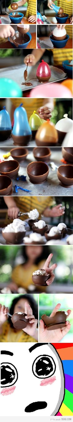 Steps:    1. Melt Chocolate Chips in large double boiler or microwave  2. Blow up small water-balloon sized balloons  3. Dip balloons into melted chocolate  4. Let cool on wax paper  5. Pop balloon!    If you are worried about the balloons being dirty, wash them before blowing them up with air in mild soap and warm water.