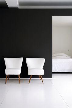 black wall / white floors
