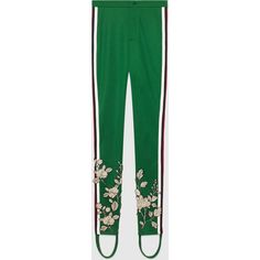 Gucci Embroidered Jersey Stirrup Legging (£975) ❤ liked on Polyvore featuring pants, leggings, bottoms, green, gucci, pants & shorts, ready-to-wear, women, floral print leggings and floral pants