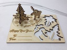 Christmas souvenir card Christmas present. Cosy Christmas, Gold Christmas Tree, Beautiful Christmas Trees, Christmas Tree Themes, Christmas Presents, Christmas Crafts, Xmas, Laser Cutter Ideas, Laser Cutter Projects