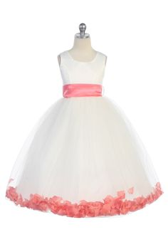 Coral Satin & Tulle Flower Girl Dress with Petals & Sash G2570-CR $39.95 on www.GirlsDressLine.Com