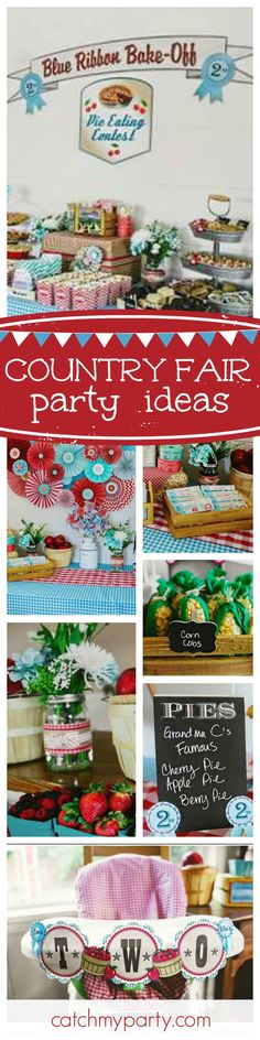 Check out this awesome Country Fair inspired birthday party. - Home Page State Fair Theme, County Fair Theme, County Fair Birthday, County Fair Decorations, Carnival Birthday Parties, First Birthday Parties, 2nd Birthday, First Birthdays, Birthday Ideas