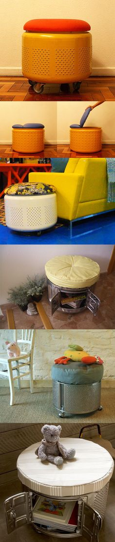 Ottomans with washing machine drum - * * Decoration and Invention Repurposed Furniture, Diy Furniture, Recycled Crafts, Diy And Crafts, Washing Machine Drum, Diys, Diy Casa, Creation Deco, Repurposed Items