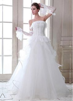 DIGNIFIED TULLE SATIN A-LINE STRAPLESS NECKLINE DROPPED WWAISTLINE WEDDING DRESS FORMAL PROM EVENING PARTY GOWN