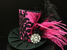 Pink and Black Damask Mini Top Hat.