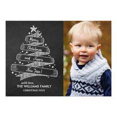 Vintage Chalkboard Style Ribbon Christmas Tree Custom Photo Greeting Cards