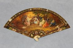 Antique RARE 19thC French Miniature Painting Victorian Lady's Hand Fan