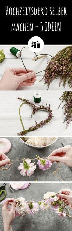 5 genial einfache Ideen für den Blumenschmuck auf der Hochzeit inklusive Bastelanleitung.
