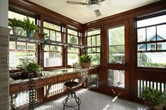 Startling Green House decorating ideas for Decorative Sunroom Craftsman design ideas with addition bungalow ceiling fan double hung windows floor to ceiling windows garden Craftsman Porch, Craftsman Interior, Craftsman Style Homes, Craftsman Bungalows, Craftsman Style Interiors, Craftsman Living Rooms, Craftsman Decor, Craftsman Houses, Craftsman Kitchen