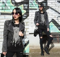 Get this look: http://lb.nu/look/8126080  More looks by Katy Mage: http://lb.nu/katymage  Items in this look:  Lookbook Store Jacket, She In Jeans, Ami Clubwear Combat Boots, New Yorker  Tee   #edgy #grunge #punk