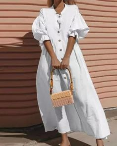 Midi Dress With Sleeves, Half Sleeves, Types Of Sleeves, The Dress, Short Sleeves, Plain White Dress, Ethno Style, Look Fashion, Womens Fashion