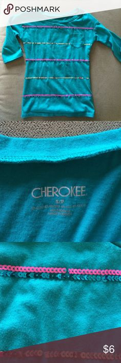 Teal 3/4 sleeve shirt with sparkle sequins Super cute teal shirt for girls with sliver, pink and real sequins. Hardly worn and is in great shape. Has a lot of life left! Cherokee Shirts & Tops Tees - Long Sleeve