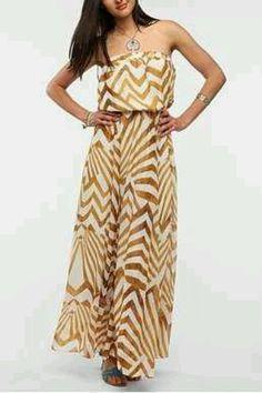 Gold maxi dress.
