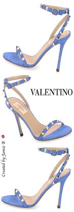 Pre Fall 2015 Valentino | Rockstud Suede Naked Sandal, Light Sapphire | Jamie B