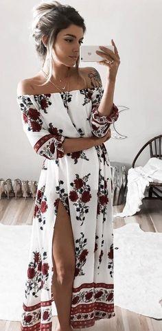 Çiçekli Elbise Modelleri dizaltı beyaz omzu açık uzun kollu   SadeKadınlar - Moda