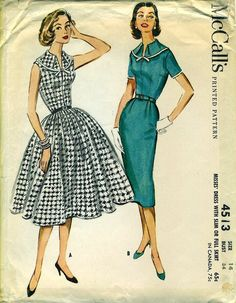 McCall's 4513 - Dress with Slim or Full Skirt - Awesome Bodice with Turnover Collar circa 1958
