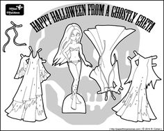 A Halloween ghost printable paper doll coloring page