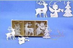 Vianočné ozdoby kovové anjel, jeleň, stromček  antik - biela, sada 9 ks