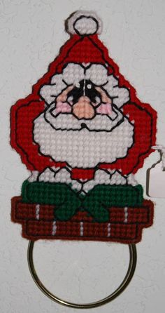 1656 Santa Towel Holder by CraftsbyRandC on Etsy, $8.95