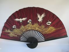 Large Wall Fan Vintage Asian Bamboo and Fabric Traditional Red Headed Crowned Cranes Symbol of Immortality Deep Red Gold Black White (40.00 USD) by HobbitHouse