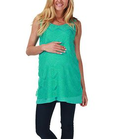 Look what I found on #zulily! Turquoise Lace Maternity Tank by PinkBlush Maternity #zulilyfinds