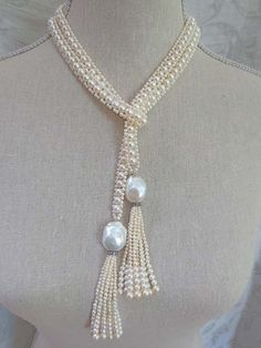 Intricate Woven Pearl Long Sautoir with Large Baroque Pearl Tassels - Fabulous Flapper Style Long Pearl Double Tassel Necklace Diy Jewelry Necklace, Bead Jewellery, Necklace Designs, Pearl Jewelry, Bridal Jewelry, Jewelry Crafts, Jewelery, Handmade Jewelry, Beaded Necklace