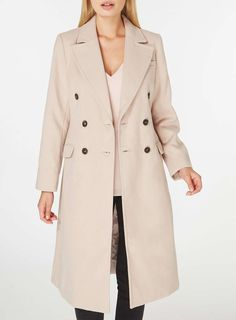 Womens Blush Double Breasted Coat- Pink