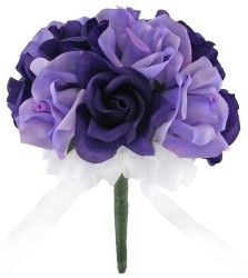 Purple and Lavender Silk Rose Toss Bouquet Bridal Wedding Bouquet
