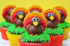 Fondant Turkey Cupcake Toppers..  Link has full recipe and step by step pics and detailed assembly instructions..